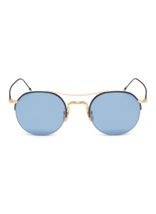 Main View - Click To Enlarge - THOM BROWNE - Browbar metal round sunglasses