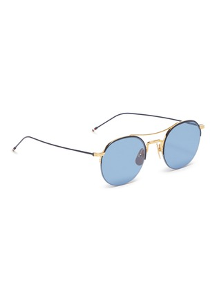 Figure View - Click To Enlarge - THOM BROWNE - Browbar metal round sunglasses