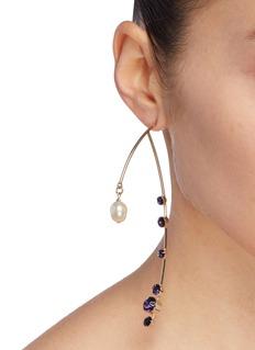 Dries Van Noten Glass crystal faux pearl sculptural bar drop single earring