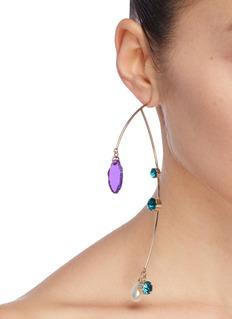 Dries Van Noten Glass crystal shard sculptural bar drop single earring