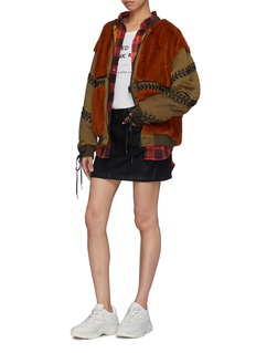 YOHANIX Detachable hem faux fur panel lace-up bomber jacket