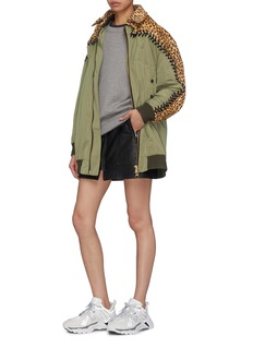 YOHANIX Leopard print leather yoke lace-up jacket