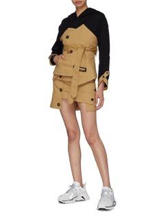 YOHANIX Belted asymmetric button gabardine skirt