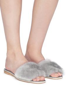 René Caovilla Strass trim mink fur slide sandals