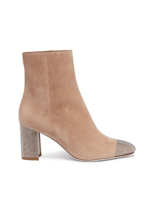 Main View - Click To Enlarge - René Caovilla - Strass toe suede ankle boots