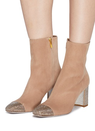 Figure View - Click To Enlarge - René Caovilla - Strass toe suede ankle boots