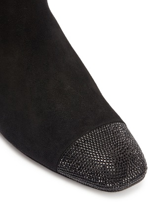 Detail View - Click To Enlarge - RENÉ CAOVILLA - Strass heel suede mid calf boots
