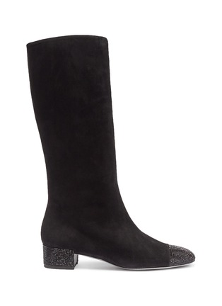 Main View - Click To Enlarge - RENÉ CAOVILLA - Strass heel suede mid calf boots