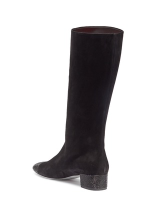 Figure View - Click To Enlarge - RENÉ CAOVILLA - Strass heel suede mid calf boots