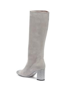 René Caovilla Strass heel suede knee high boots