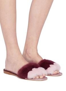 René Caovilla Strass trim colourblock mink fur slide sandals