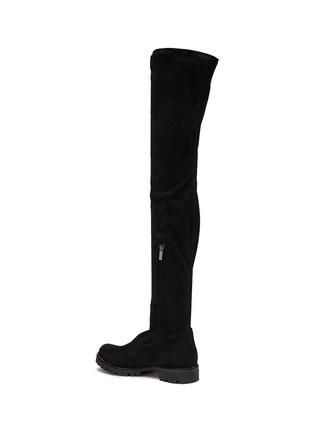 Detail View - Click To Enlarge - René Caovilla - Strass trim suede thigh high boots