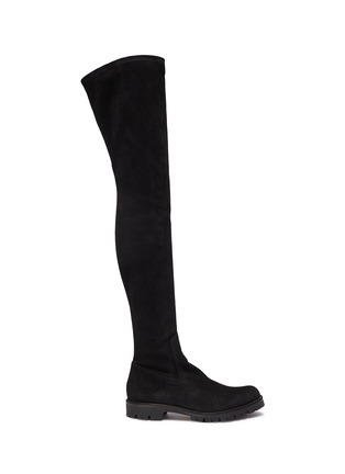 Main View - Click To Enlarge - René Caovilla - Strass trim suede thigh high boots