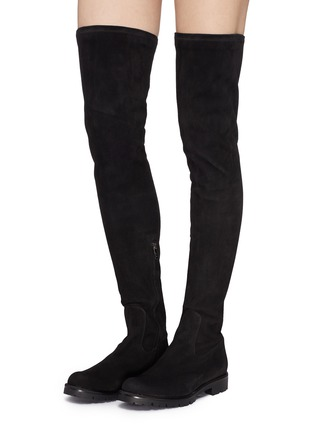 Figure View - Click To Enlarge - René Caovilla - Strass trim suede thigh high boots