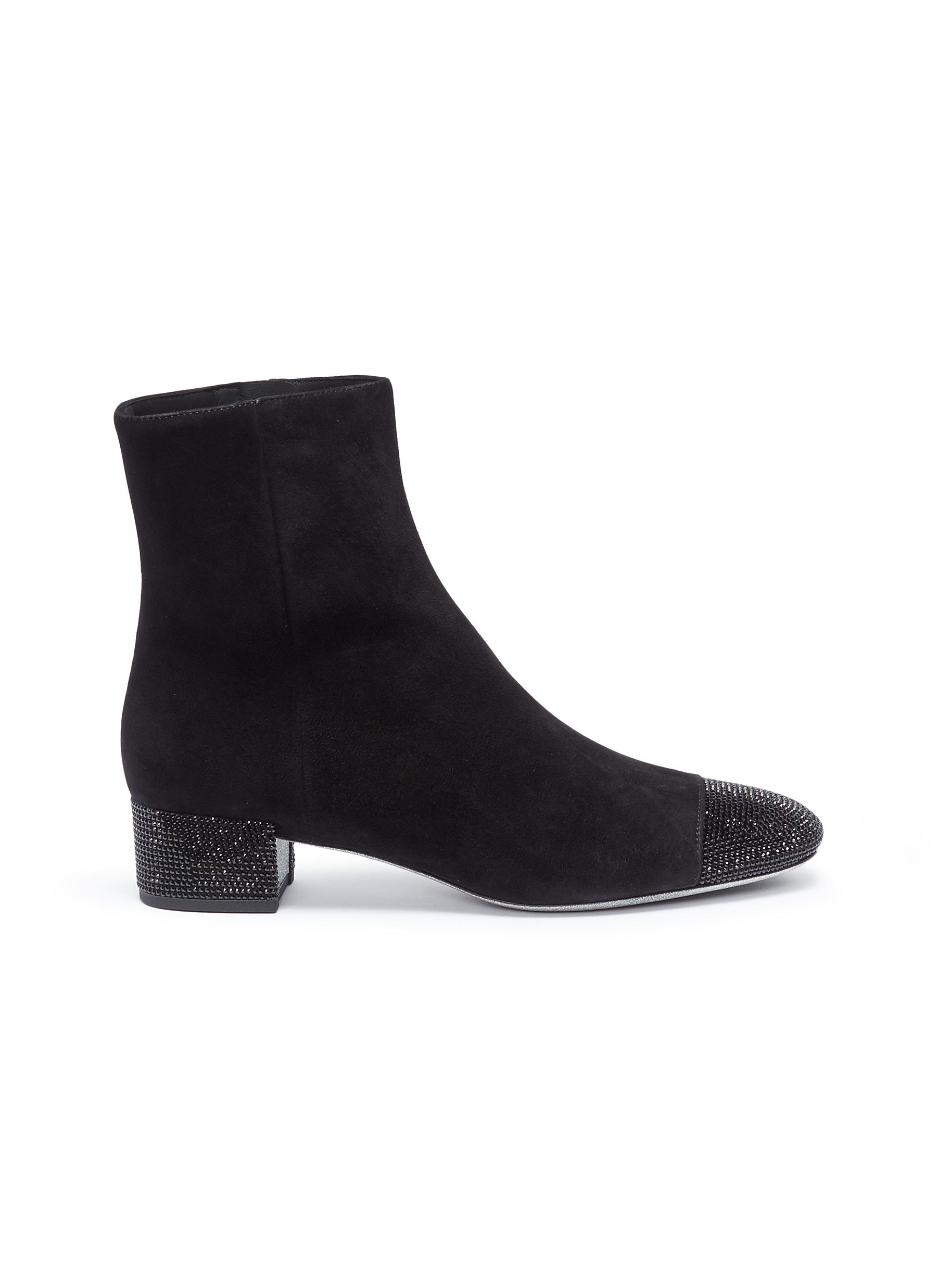 Strass toe suede ankle boots by René Caovilla