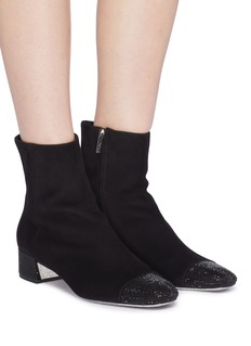 René Caovilla Strass toe suede ankle boots
