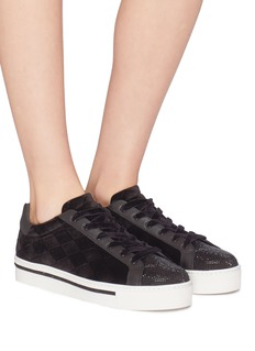 René Caovilla Strass diamond quilted velvet flatform sneakers