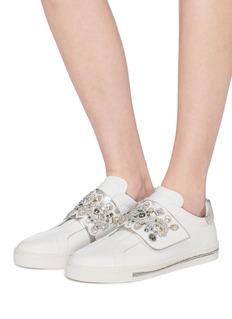 René Caovilla Strass strap leather flatform sneakers