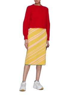 i-am-chen Contrast hem stripe skirt