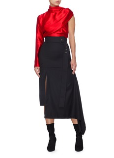 MATÉRIEL Belted asymmetric drape wool skirt