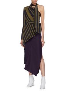 MATÉRIEL Asymmetric drape panel wool skirt