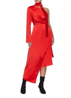 MATÉRIEL Sash tie neck asymmetric drape one-shoulder silk dress