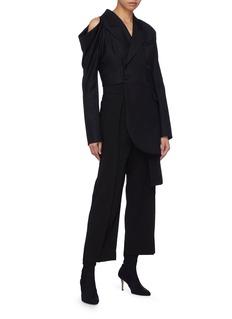 MATÉRIEL Belted slit shoulder asymmetric coat