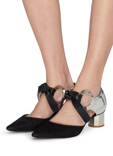 Proenza Schouler Metal ring tie suede and leather d'Orsay pumps