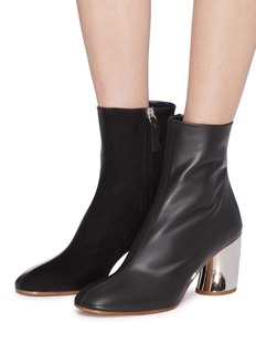 Proenza Schouler Curved mirror heel leather and suede ankle boots
