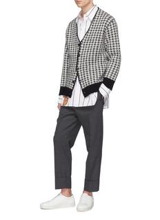 MAISON FLANEUR Contrast hem houndstooth cardigan
