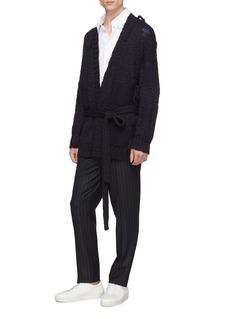 MAISON FLANEUR Belted wool rib knit shawl cardigan