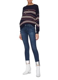 J Brand ''MR DW' metallic staggered cuff skinny jeans