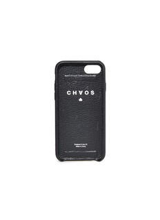 CHAOS Logo jacquard strap leather iPhone 7/8 case –Black