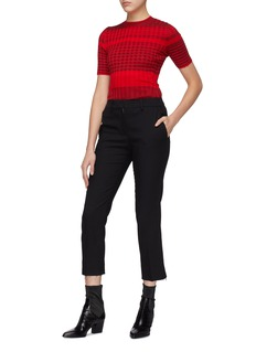Helmut Lang Mix stripe rib knit short sleeve sweater