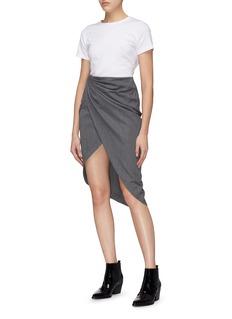 Helmut Lang Mock wrap ruched drape virgin wool skirt