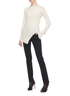 Helmut Lang Split cuff asymmetric rib knit top
