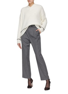 Helmut Lang Belted pleated virgin wool wide leg pants