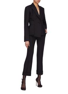 Helmut Lang Oversized peaked lapel pleated blazer