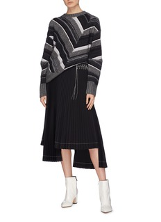 Helmut Lang Contrast stitch pleated staggered hem skirt