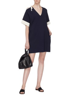 Short Sentence Tie cut-out shoulder knit dress