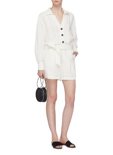 Short Sentence Belted button front twill playsuit