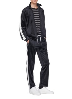 MAGIC STICK 'LUX G's' stripe outseam logo embroidered velour track pants