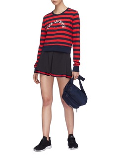 The Upside 'Tommy' logo print stripe cropped long sleeve T-shirt