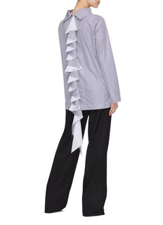 J.Cricket 'Cocktail Chemise' back ruffle drape stripe poplin top