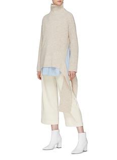 Mijeong Park Drape rib knit oversized high neck sweater
