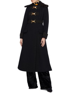 Proenza Schouler Buckle belted lambskin shearling collar bouclé coat