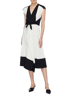 Proenza Schouler Colourblock drape front sash tie dress