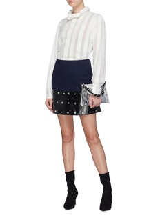 Sonia Rykiel Stud faux leather panel wool blend gabardine skirt