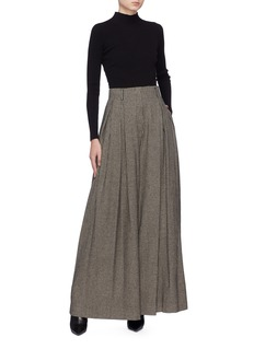 The Row 'Garcia' pleated houndstooth wide leg pants