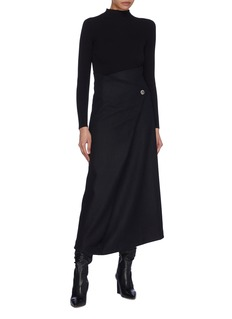 The Row 'Sinid' asymmetric wrap wool melton skirt